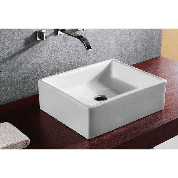 Caracalla CA4158-No Hole Ceramica 18 Inch Square White Ceramic Vessel Bathroom Sink