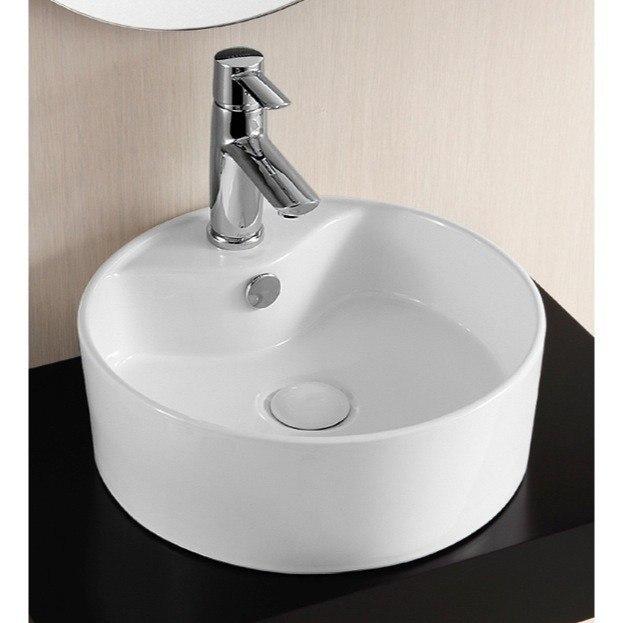 Caracalla CA4161-One Hole Ceramica 15 Inch Round White Ceramic Vessel Bathroom Sink