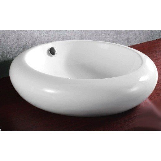 Caracalla CA4165-No Hole Ceramica 20 Inch Round White Ceramic Vessel Bathroom Sink