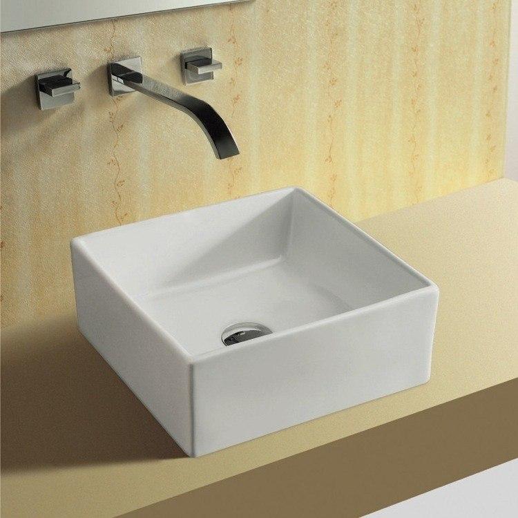 Caracalla CA4169-No Hole Ceramica 15 Inch Square White Ceramic Vessel Bathroom Sink