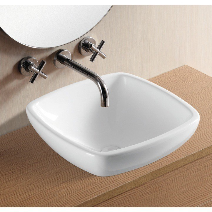 Caracalla CA4252-No Hole Ceramica 18 Inch Square White Ceramic Drop in Bathroom Sink