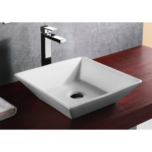 Caracalla CA4256-No Hole Ceramica 17 Inch Square White Ceramic Vessel Bathroom Sink