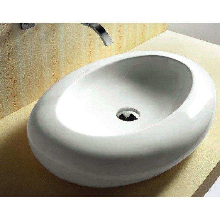 Caracalla CA4257-No Hole Ceramica 26 Inch Oval Shaped White Ceramic Vessel Bathroom Sink