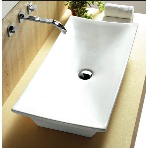 CARACALLA CA4277-NO HOLE CERAMICA 32 INCH RECTANGULAR WHITE CERAMIC VESSEL BATHROOM SINK