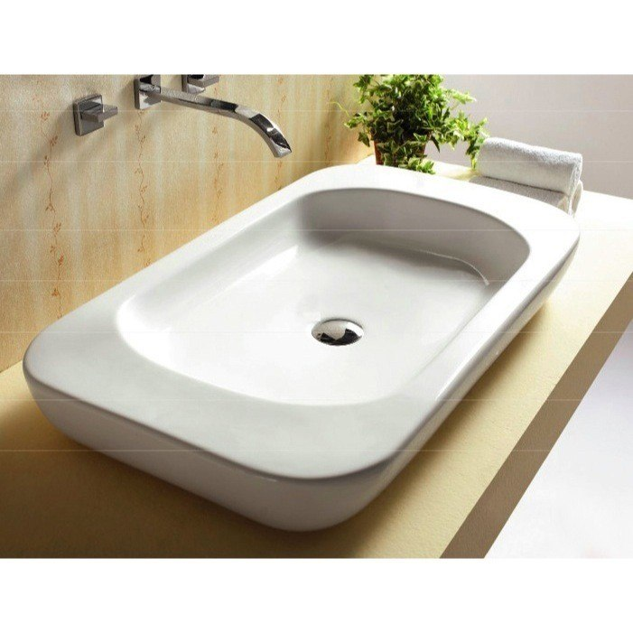 CARACALLA CA4278-NO HOLE CERAMICA 32 INCH RECTANGULAR WHITE CERAMIC VESSEL BATHROOM SINK