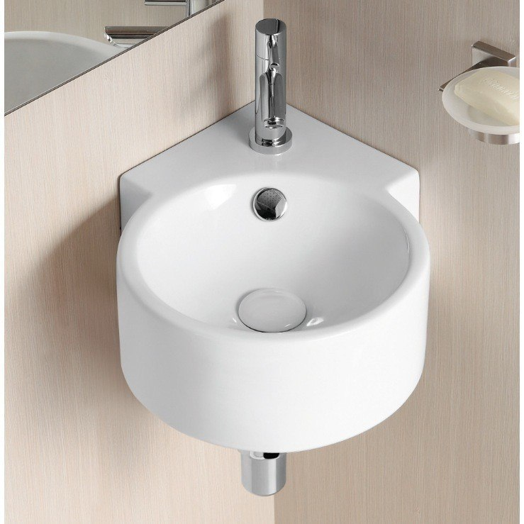 Caracalla CA4296-One Hole Ceramica Ii 17 Inch Round White Ceramic Wall Mounted Corner Bathroom Sink