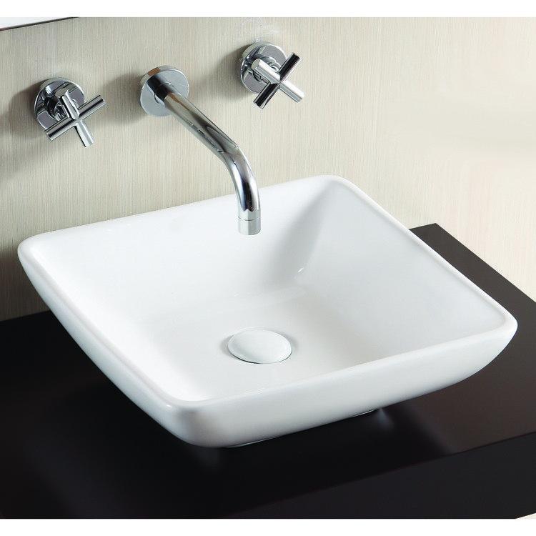 Caracalla CA4322-No Hole Ceramica 16 Inch Square White Ceramic Vessel Bathroom Sink