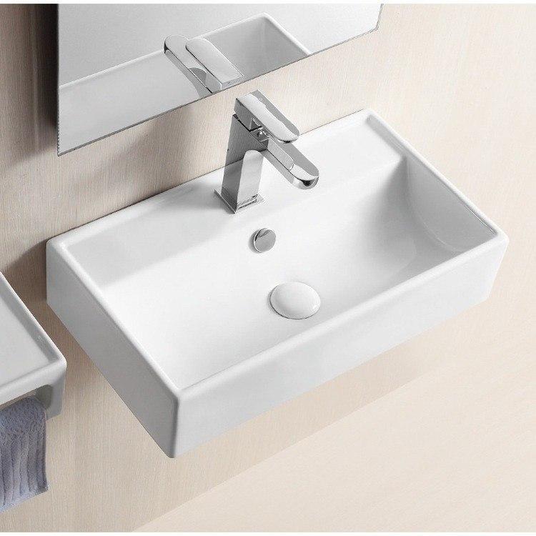 Caracalla CA4335-One Hole Ceramica Ii 22 Inch Rectangular White Ceramic Wall Mounted or Vessel Bathroom Sink