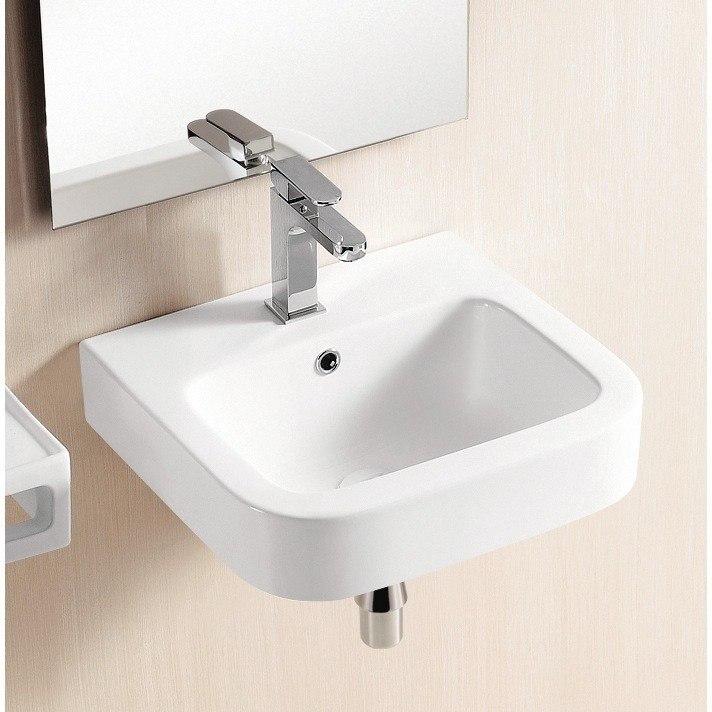 Caracalla CA440-One Hole Ceramica Ii 18 Inch Square White Ceramic Wall Mounted or Vessel Bathroom Sink