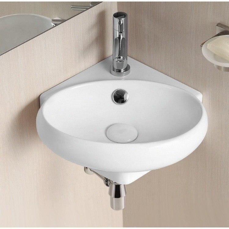 Caracalla CA4518-One Hole Ceramica Ii 15 Inch Oval White Ceramic Wall Mounted Corner Bathroom Sink