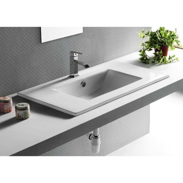 Caracalla CA4530-820-One Hole Ceramica 32 Inch Rectangular White Ceramic Self Rimming Bathroom Sink