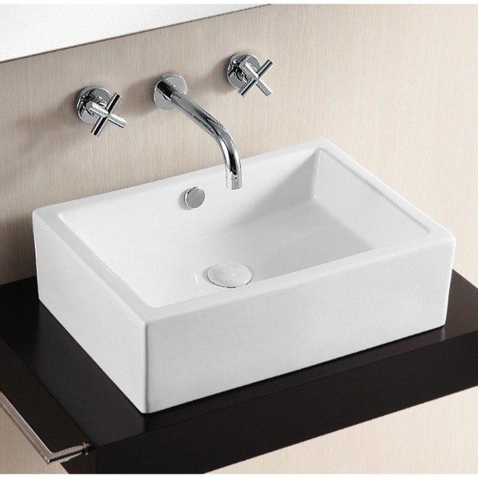 Caracalla CA4532-No Hole Ceramica 20 Inch Rectangular White Ceramic Vessel Bathroom Sink