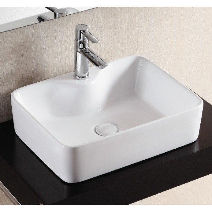 Caracalla CA4569A-One Hole Ceramica Ii 19 Inch Rectangular White Ceramic Vessel Bathroom Sink