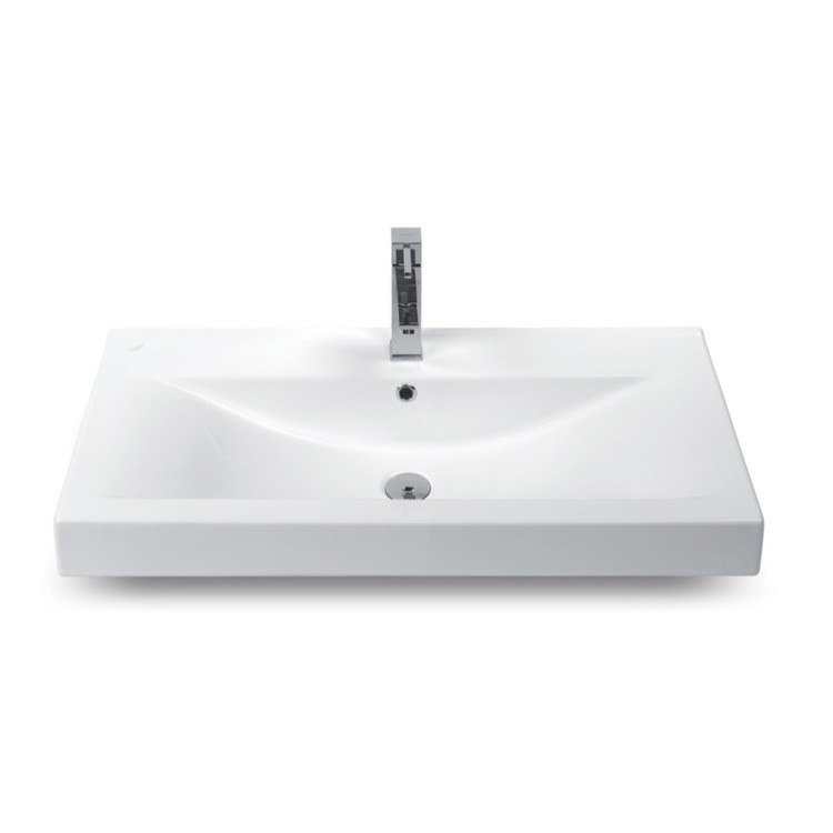 CERASTYLE 064400-U-ONE HOLE MONA 32 INCH RECTANGULAR WHITE CERAMIC WALL MOUNTED OR SELF-RIMMING SINK