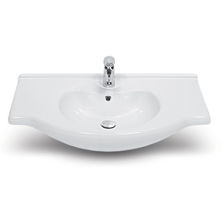 CERASTYLE 066100-U-ONE HOLE NIL 26 INCH RECTANGULAR WHITE CERAMIC WALL MOUNTED OR SELF-RIMMING SINK
