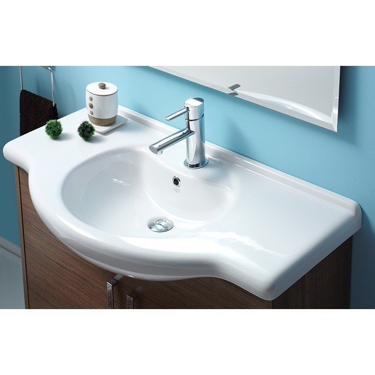CERASTYLE 066500-U-ONE HOLE NIL 33 INCH RECTANGULAR WHITE CERAMIC WALL MOUNTED OR SELF-RIMMING SINK