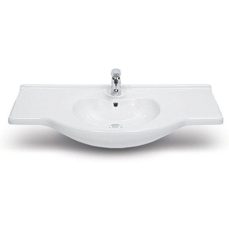CERASTYLE 066700-U-ONE HOLE NIL 42 INCH RECTANGULAR WHITE CERAMIC WALL MOUNTED OR SELF-RIMMING BATHROOM SINK