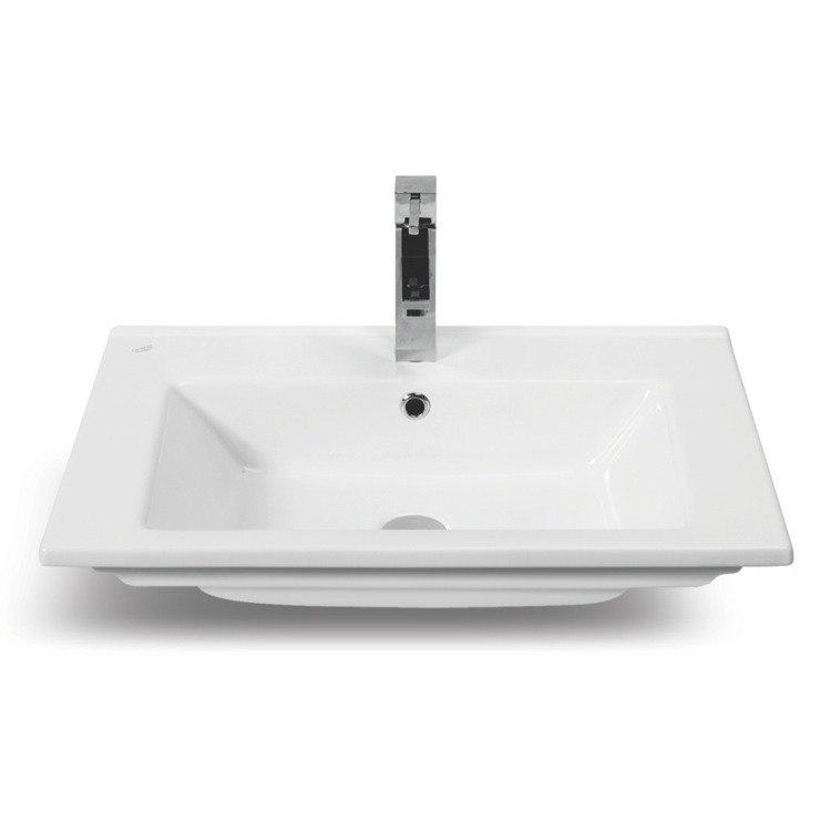 CERASTYLE 067300-U-ONE HOLE ARTE 26 INCH RECTANGULAR WHITE CERAMIC BATHROOM SINK