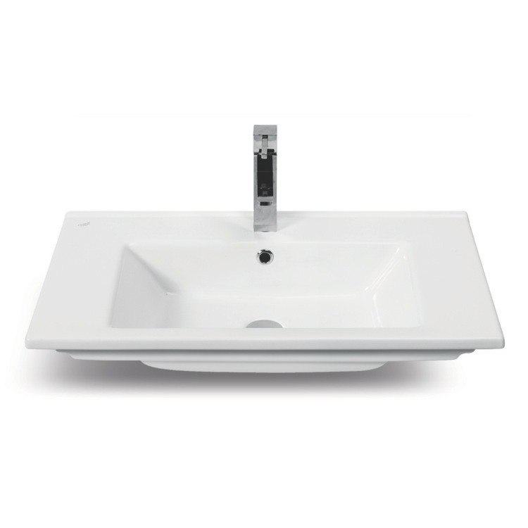 CERASTYLE 067500-U-ONE HOLE ARTE 34 INCH RECTANGULAR WHITE CERAMIC SELF-RIMMING BATHROOM SINK