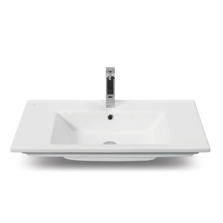 CERASTYLE 067600-U-ONE HOLE ARTE 40 INCH RECTANGULAR WHITE CERAMIC SELF-RIMMING BATHROOM SINK