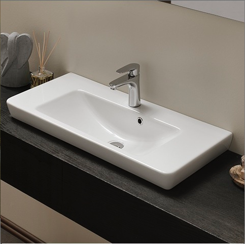 CERASTYLE 068300-U-ONE HOLE PORTO 34 INCH RECTANGULAR WHITE CERAMIC WALL MOUNTED OR SELF-RIMMING SINK