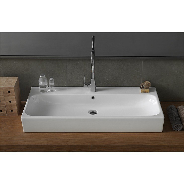 CERASTYLE 080300-U-ONE HOLE PINTO 40 INCH RECTANGULAR WHITE CERAMIC WALL MOUNTED OR VESSEL SINK