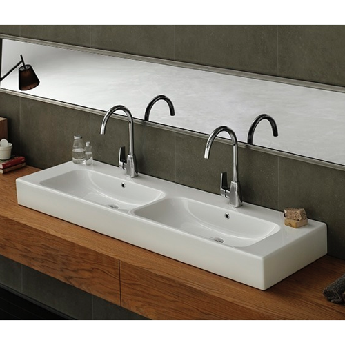 CERASTYLE 080900-U-TWO HOLE PINTO 60 INCH RECTANGULAR DOUBLE WHITE CERAMIC WALL MOUNTED OR VESSEL BATHROOM SINK