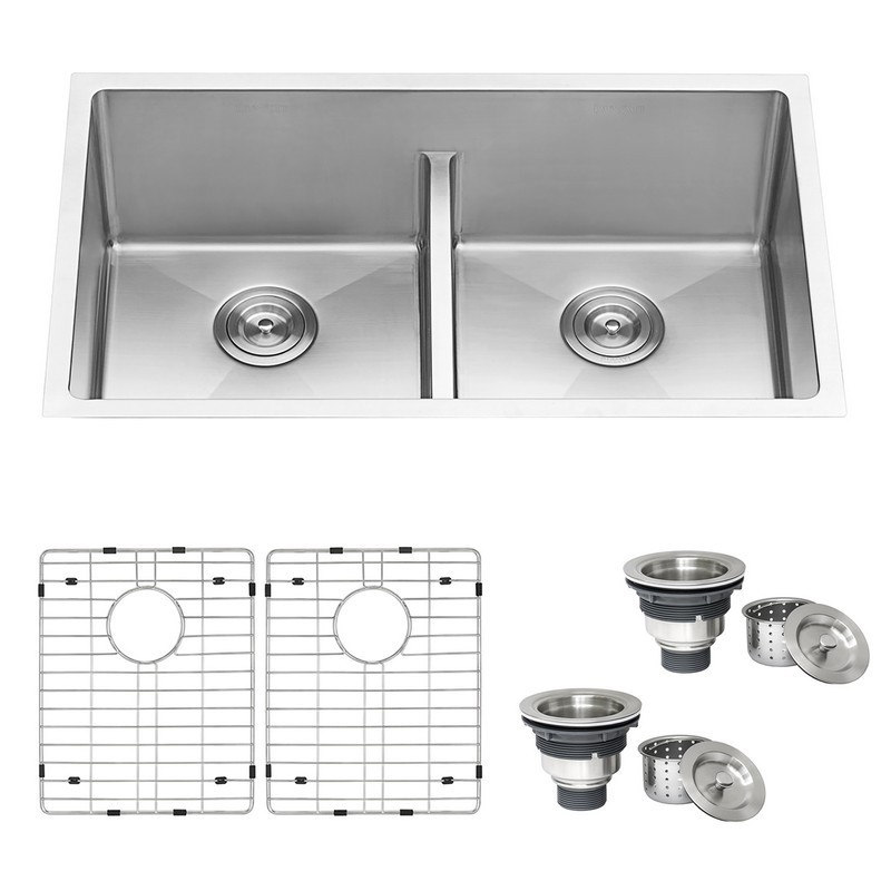Ruvati RVH7355 Low-Divide 30 Inch Undermount 16 Gauge Double Bowl Kitchen Sink
