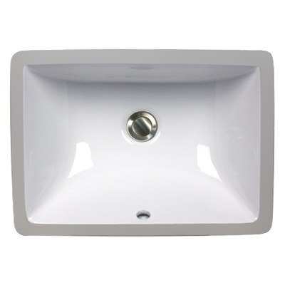 Nantucket Sinks UM-16x11-W 16 Inch Great Point Undermount Ceramic Rectangle Vanity Sink in White