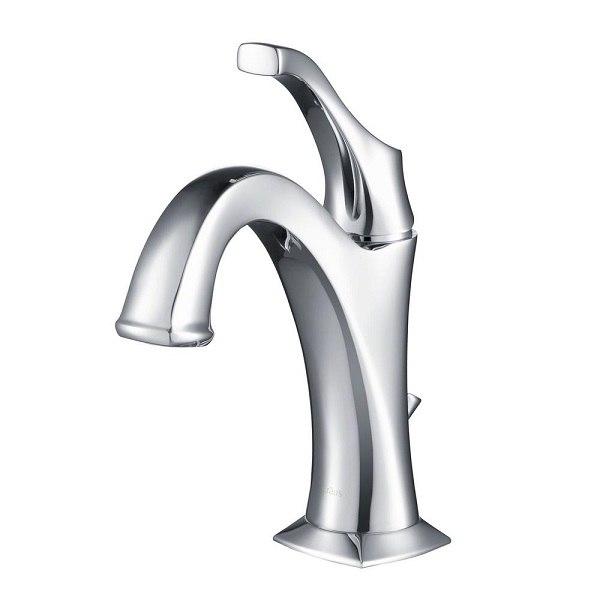 Kraus KBF-1201 Arlo Single Handle Basin Bathroom Faucet with Lift Rod Drain and Deck Plate