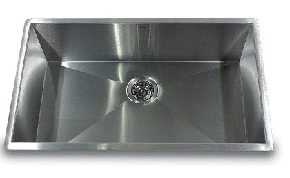 NANTUCKET SINKS ZR2818-16 PRO SERIES 28 INCH LARGE RECTANGLE SINGLE BOWL UNDERMOUNT ZERO RADIUS STAINLESS STEEL KITCHEN SINK