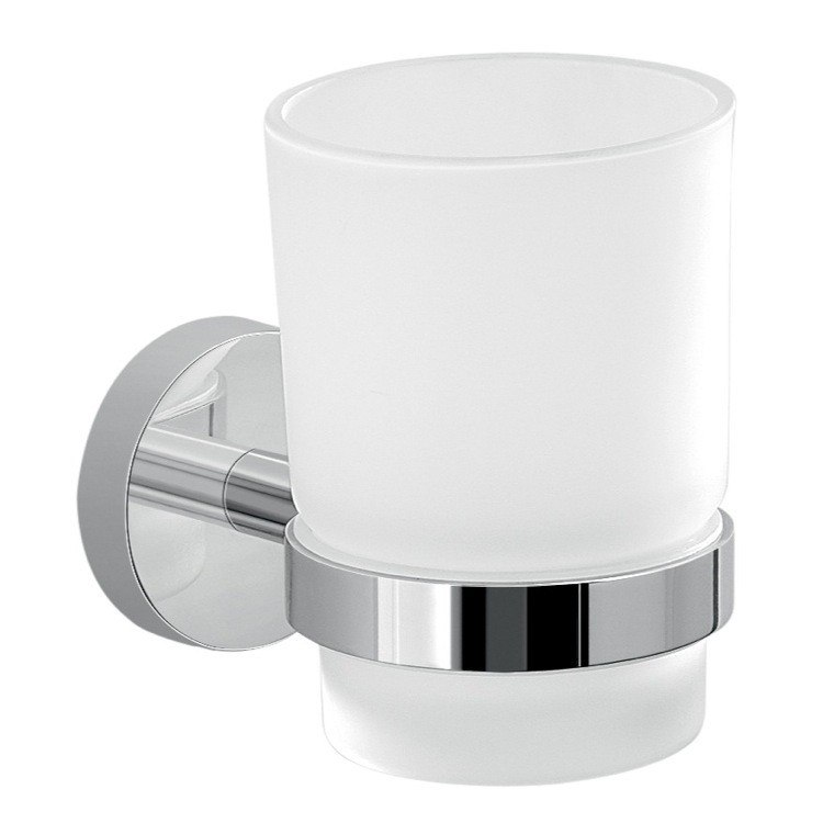 GEDY 2310-13 EROS FROSTED GLASS TOOTHBRUSH HOLDER WITH CHROME WALL MOUNT