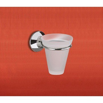 GEDY 2710-06-13 ASCOT WALL MOUNTED FROSTED GLASS TOOTHBRUSH HOLDER WITH CHROME MOUNTING