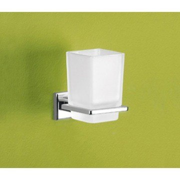 GEDY 6910-13 COLORADO WALL MOUNTED FROSTED GLASS TOOTHBRUSH HOLDER