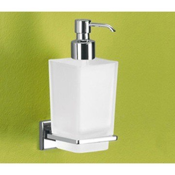 GEDY 6981-13 COLORADO WALL MOUNTED FROSTED GLASS SOAP DISPENSER WITH CHROME MOUNTING