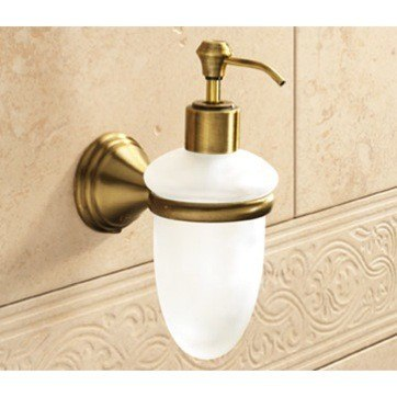 GEDY 7581-44 ROMANCE WALL MOUNTED FROSTED GLASS SOAP DISPENSER WITH BRONZE MOUNTING
