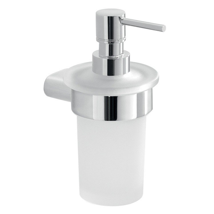 GEDY A181-13 AZZORRE FROSTED GLASS SOAP DISPENSER WITH CHROME MOUNTING