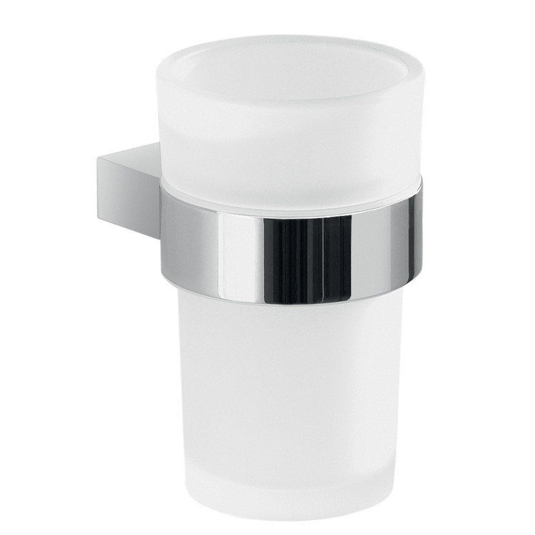 GEDY A210-13 CANARIE WALL MOUNT FROSTED GLASS TOOTHBRUSH HOLDER WITH CHROME MOUNTING