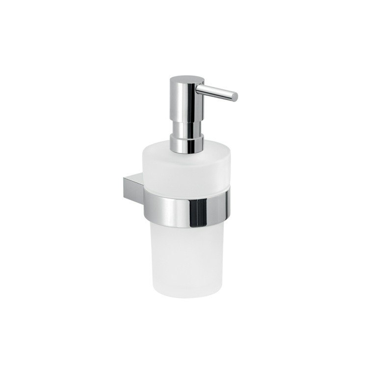 GEDY A281-13 CANARIE ROUND WALL HUNG GLASS SOAP DISPENSER WITH CHROME MOUNTING