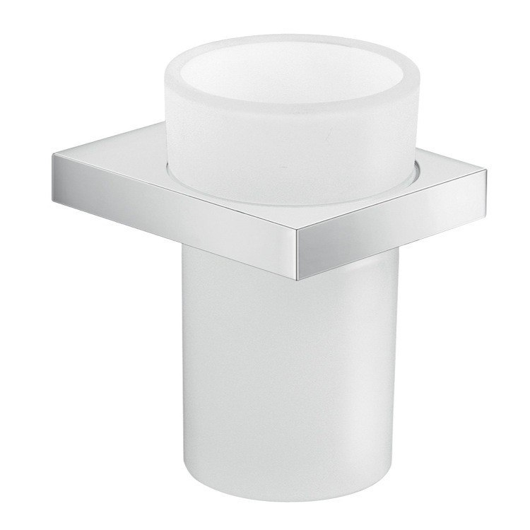 GEDY A310-13 LANZAROTE ROUND WALL MOUNTED CROMALL AND FROSTED GLASS TOOTH BRUSH HOLDER