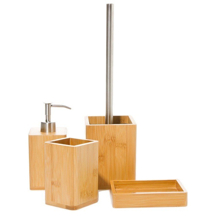 GEDY BA100 BAMBU BAMBU NATURAL WOOD BATHROOM ACCESSORY SET