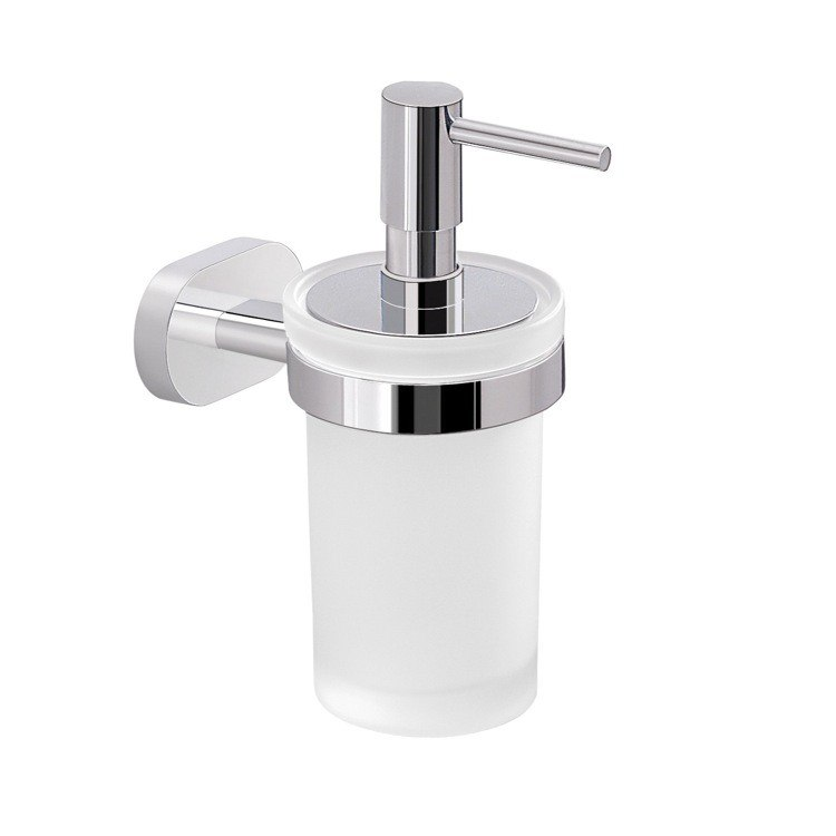 GEDY BE81-13 BERNINA WALL MOUNTED FROSTED GLASS SOAP DISPENSER WITH CHROME MOUNTING