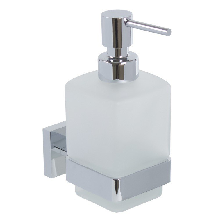 GEDY A081-13 ELBA WALL FROSTED GLASS SOAP DISPENSER WITH CHROME MOUNTING