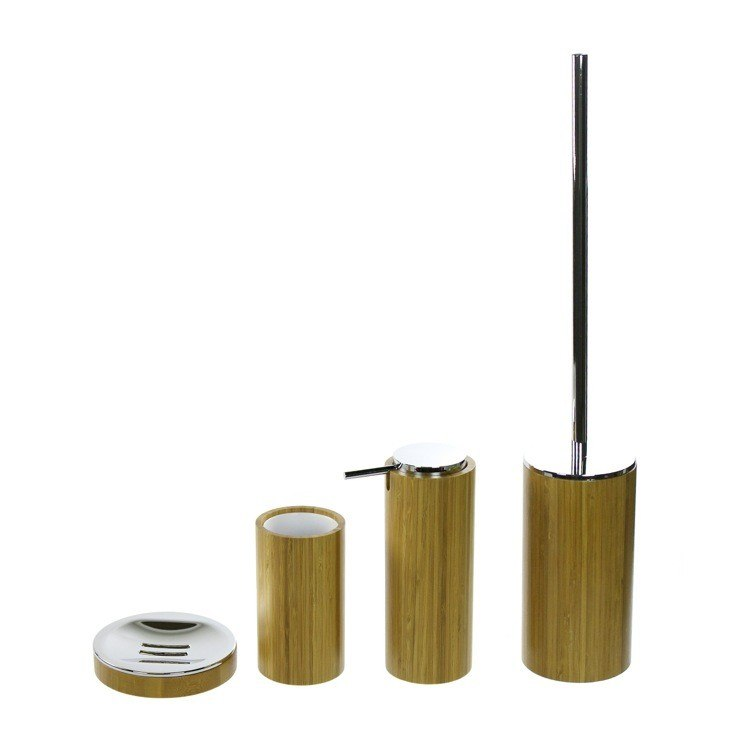 GEDY AL180-35 ALTEA 4 PIECE BATHROOM ACCESSORY SET MADE OF BAMBOO
