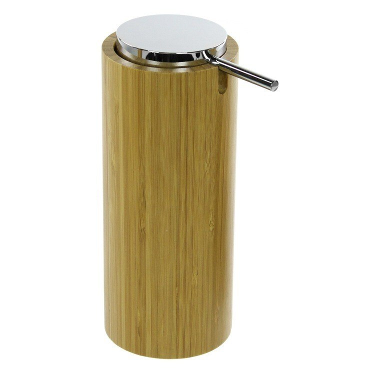 GEDY AL80-35 ALTEA ROUND FREE STANDING SOAP DISPENSER IN NATURAL WOOD FINISH