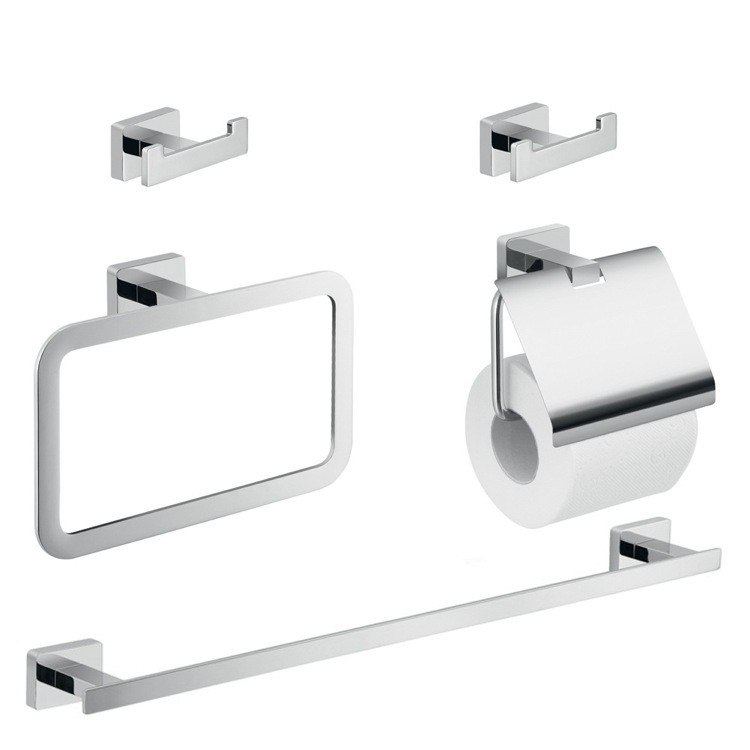 GEDY ATN108 ATENA FIVE PIECE BATHROOM HARDWARE SET IN CHROME FINISH
