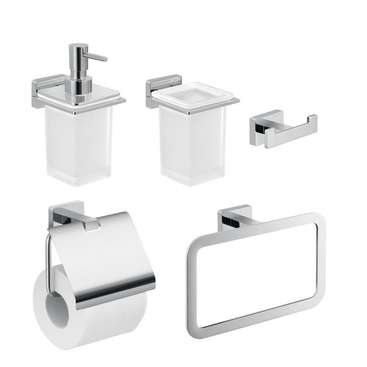 GEDY ATN110 ATENA 5 PIECE WALL HUNG BATHROOM ACCESSORY SET