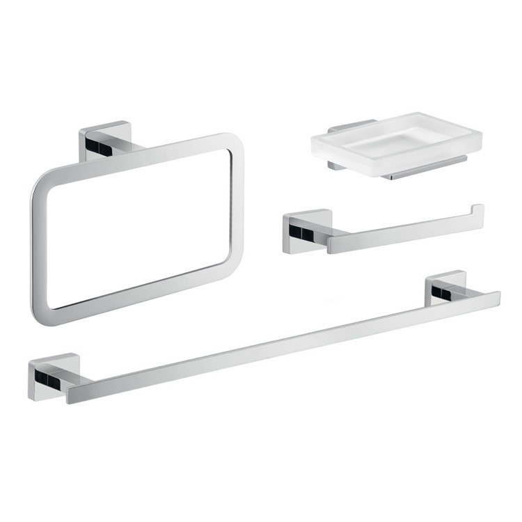 GEDY ATN114 ATENA CHROME BATHROOM ACCESSORY SET