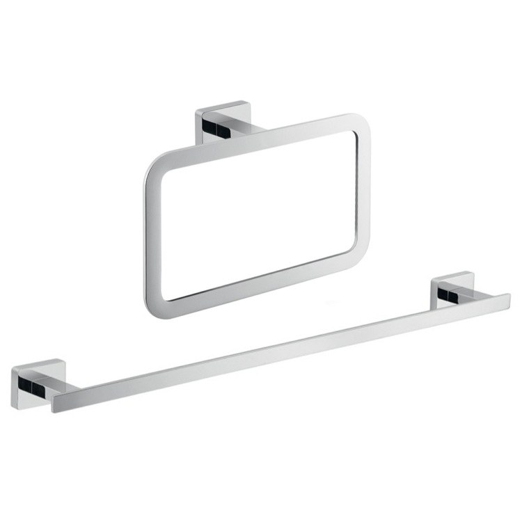 GEDY ATN500 ATENA TWO PIECE BATHROOM HARDWARE SET IN CHROME FINISH