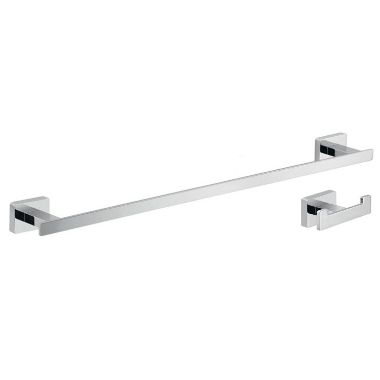 GEDY ATN501 ATENA CHROME TWO PIECE BATHROOM ACCESSORY SET